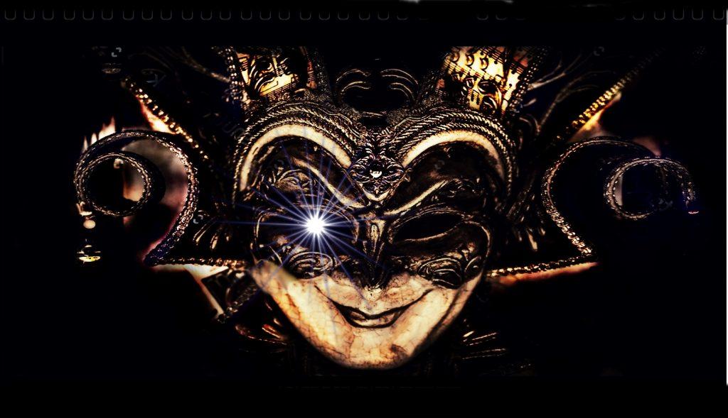 La noche del fin de los tiempos - Una novela de Raymond Gali - Máscara veneciana inquietante.